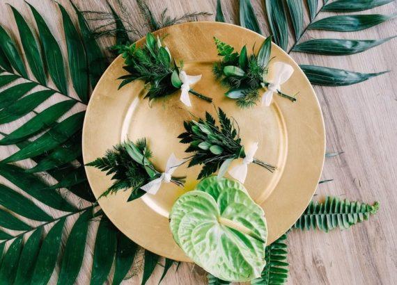 μπουτονιέρα με φύλλα