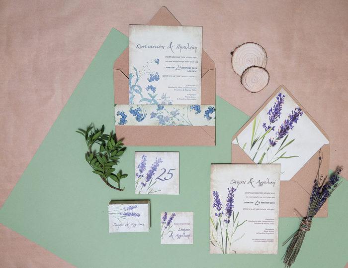προσκλητήριο γάμου με θέμα την λεβάντα