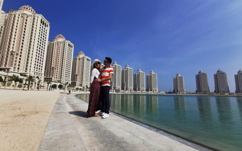 οι ουρανοξύστες στην Ντόχα  το γαμήλιο ταξίδι της Ευαγγελιας και  του Δημήτρη